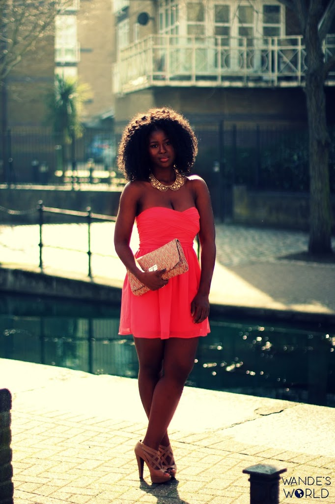 OOTD: CORAL STRAPLESS DRESS