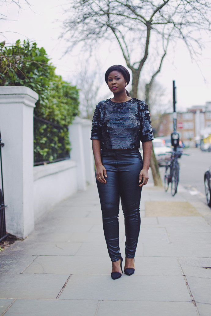 STYLE: SEQUINS AND LEATHER