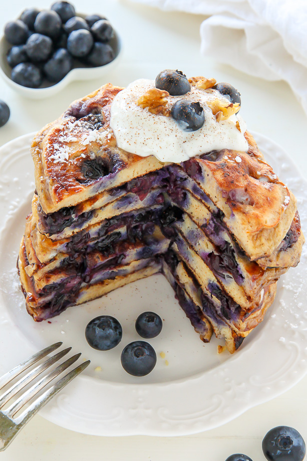 Whole Wheat Greek Yogurt Blueberry Pancakes
