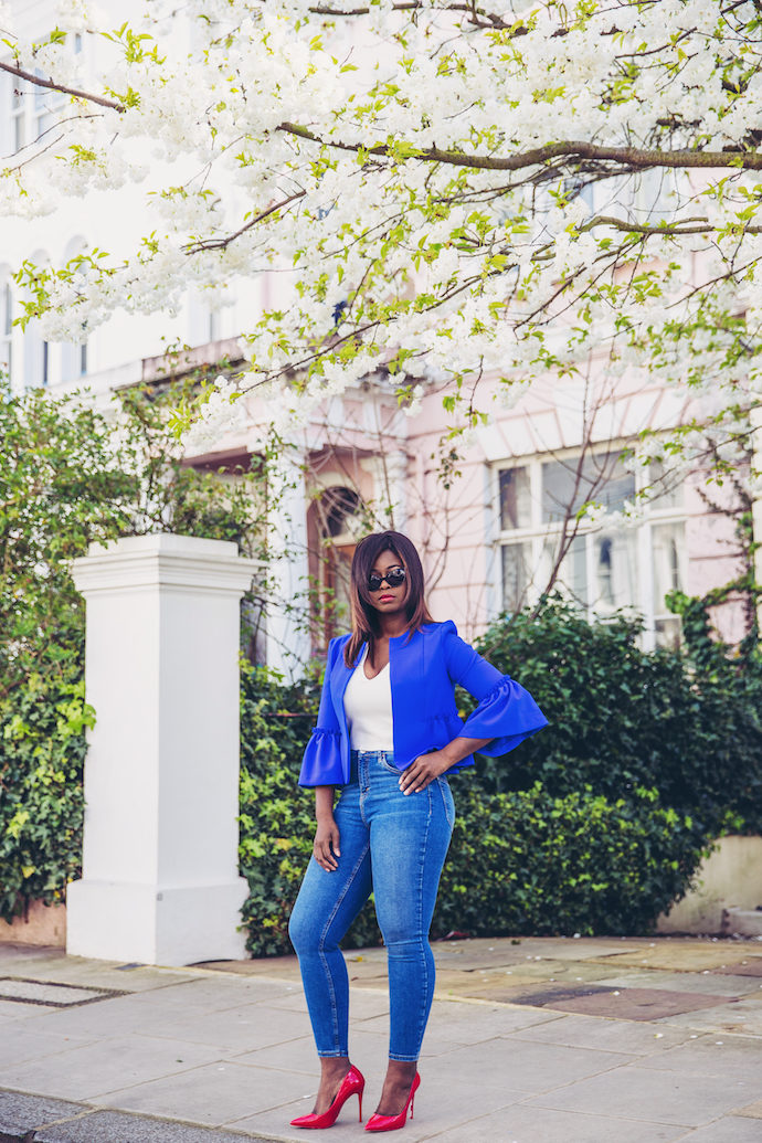 TOPSHOP cobalt blue crop frill jacket aldo shoes wandesworld
