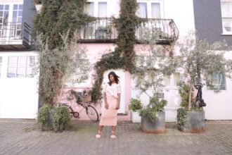 pink lace blouse outfit sandro wandesworld