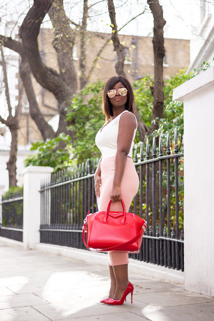 how to wear red and blush pink