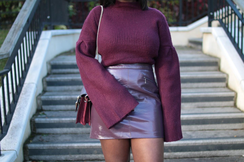 ASOS_Burgundy_High_Neck_Flared_Sleeve_Jumper_Oasis_Patent_Mini_Skirt